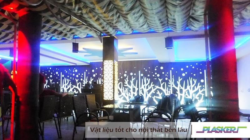 ốp tường nhựa PVC, cắt trang trí quán cà phê