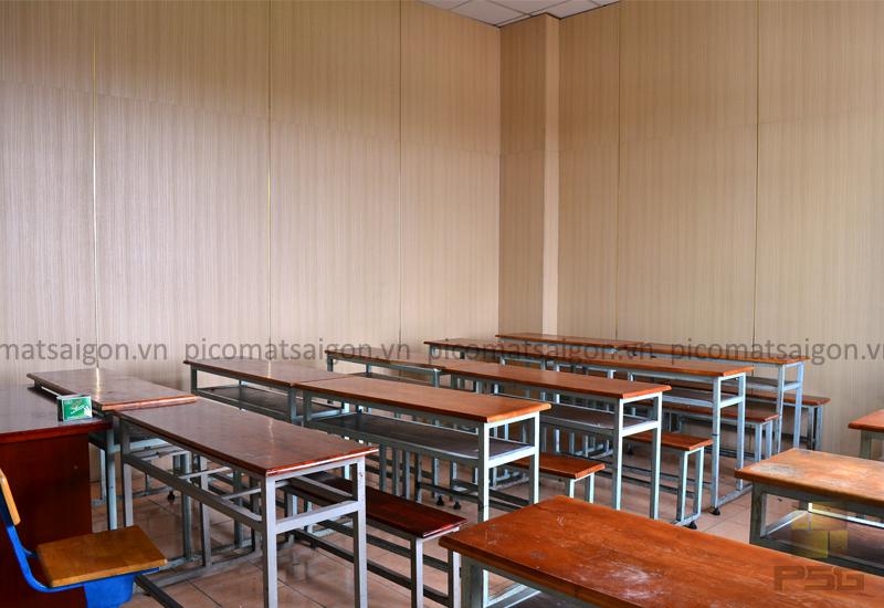 Dự án ốp tường PVC Plasker, Vách ngăn giả gỗ trường đại học