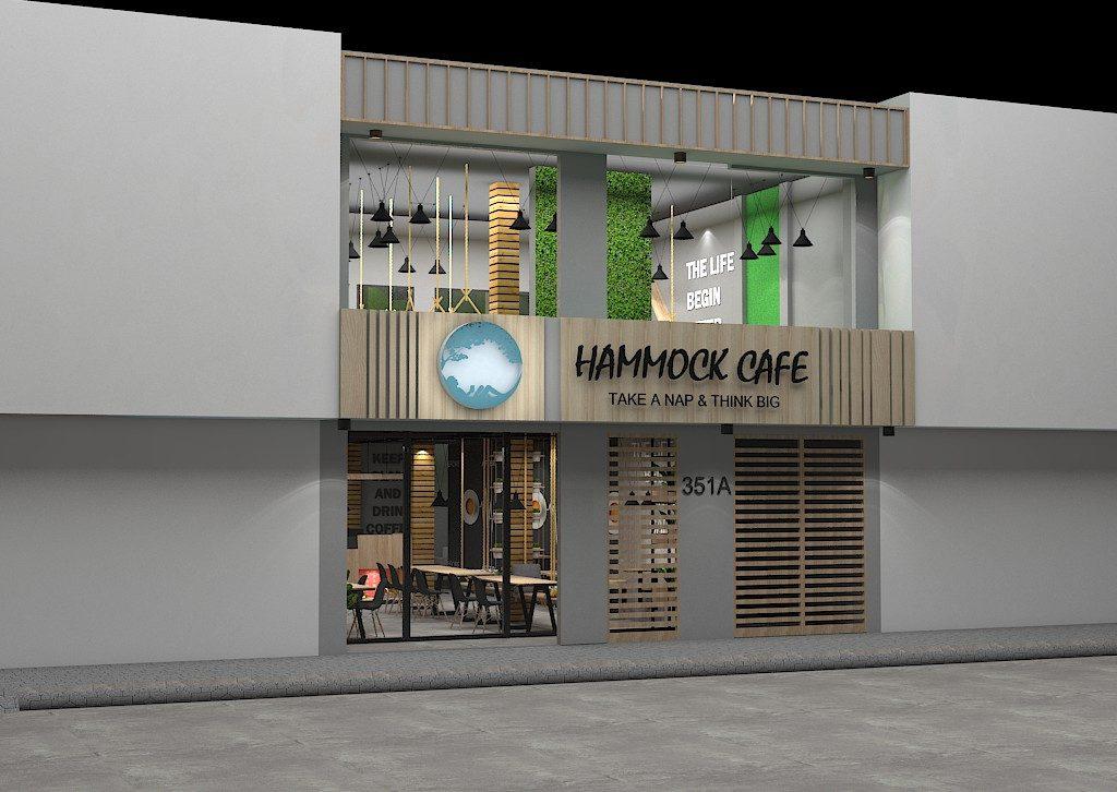 Phối cảnh mặt ngoài quán cafe HAMMOCK