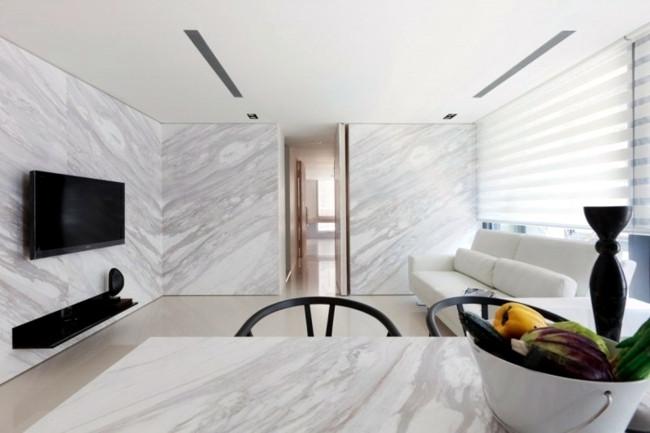 tấm nhựa vân đá ốp tường nội thất chung cư