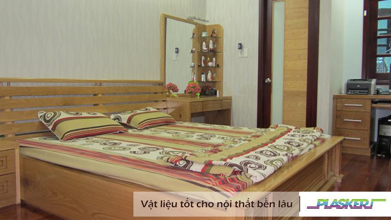 nội thất phòng ngủ từ tấm nhựa vân gỗ pvc
