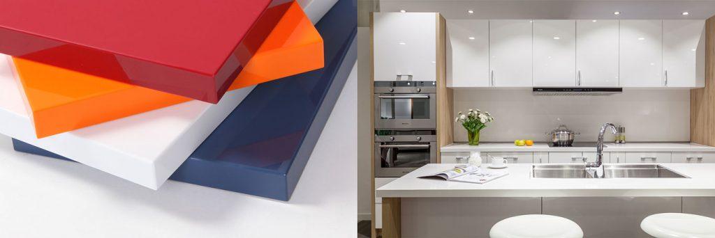 cánh tủ bếp acrylic không đường line