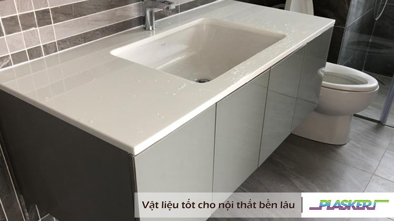 mẫu tủ lavabo nhựa phủ acrylic xám bóng hiện đại 2019