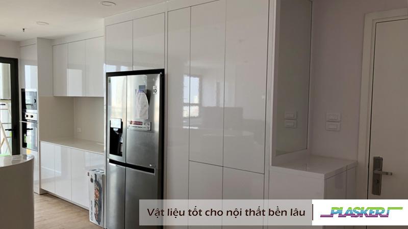 tủ bếp nhựa sơn bóng 2k , mẫu tủ bếp hiện đại 2019
